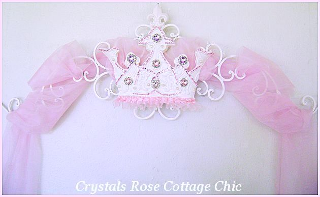 Pink and Lilac Rhinestone Princess Bed Crown Canopy Fleur de Lis