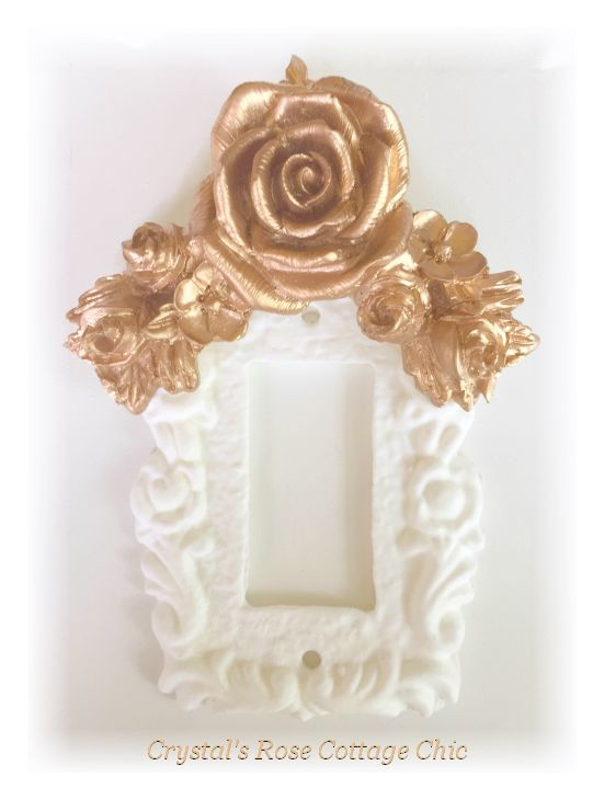 Floral Rose Swag Single Rocker Switchplate....Color & Finish Options