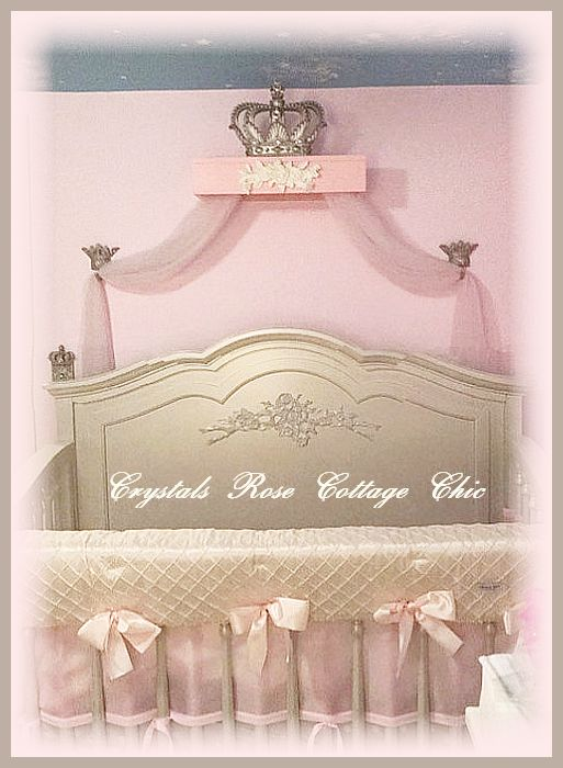 French Champagne Bed Crown Shabby Pink Teester Canopy