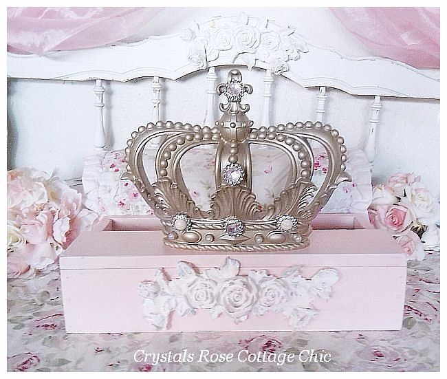 French Champagne Distressed Pink Rose Bed Crown Teester