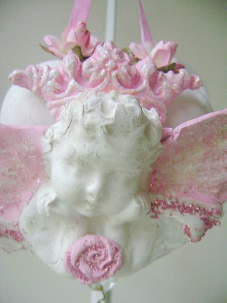Pink French Chic Cherub with Crown Ornament