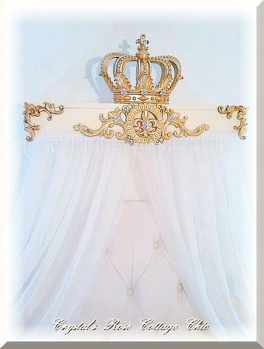 "French Flourish 30"" Bed Crown Teester Canopy...Color Choices"