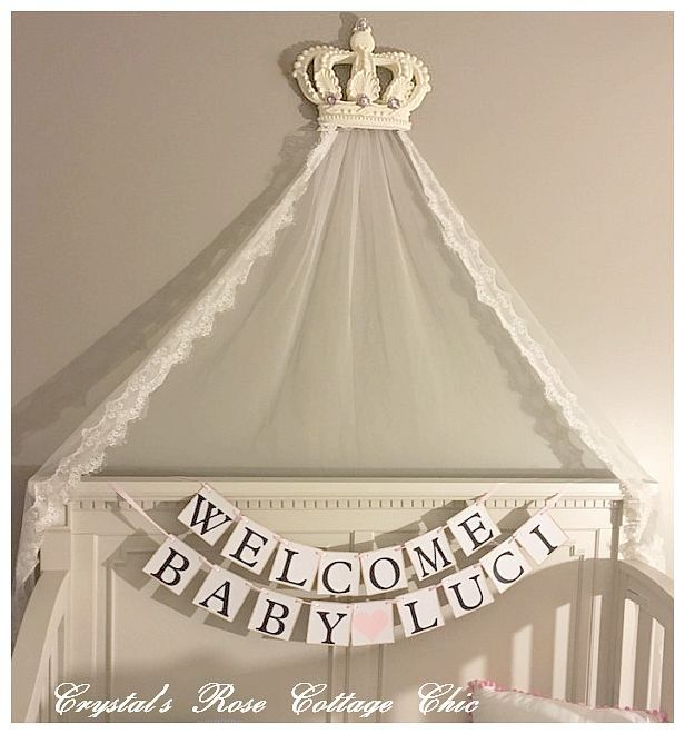 French Ivory Baroque Bed Crown Canopy Over Crib