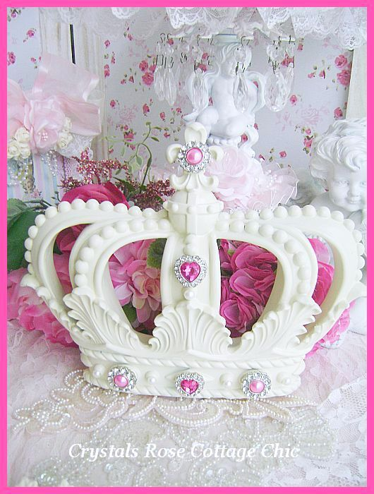 Fleur de Lis French Ivory Crown with Hot Pink Bling...Color Choices