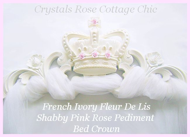 French Ivory Fleur De Lis Shabby Pink Rose Pediment / Bed Crown