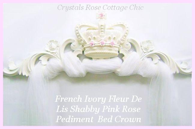 French Ivory Fleur De Lis Shabby Pink Rose Pediment / Bed Crown