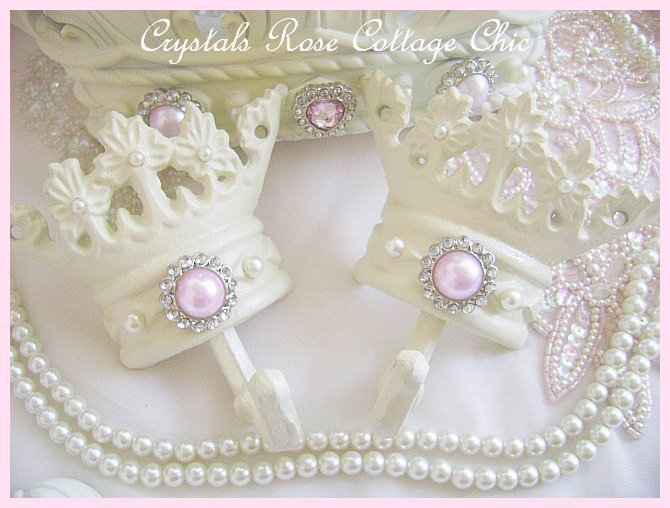 Shabby Pink Chic French Ivory Bed Crown Set...Color Options