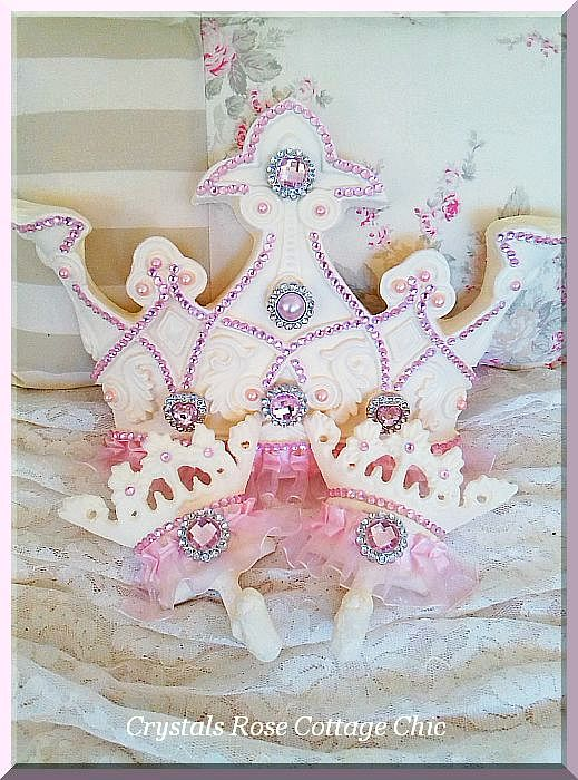 French Ivory Pink Bling Princess Tutu Bed Crown Set....Color Choices