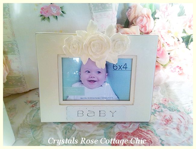 French Ivory Shabby Rose Baby Frame