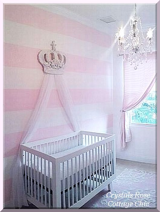 Pink Princess Bed Crown Canopy Nursery Decor Girls Room