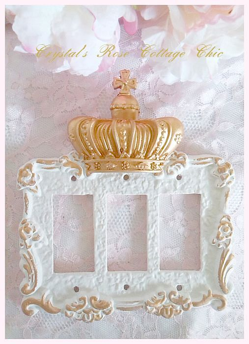 Victorian Rose French Cross Crown Triple Rocker Wall Plate...Color Choices