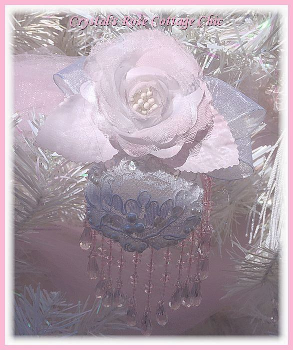 Frosted Pink Rose Victorian Ornament