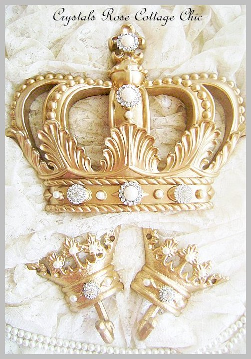 Fleur de Lis Gold Bed Crown Canopy Set with Pearls and Crystal Rhinestones