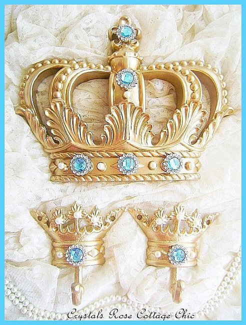 Fleur de Lis Gold & Turquoise Bed Crown Set