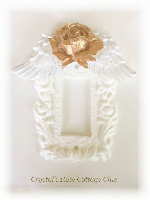 Rose Wings Single Rocker Switchplate...Color & Finish Options
