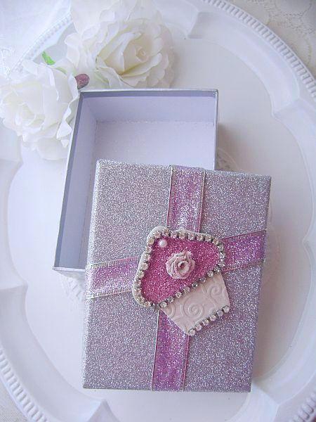 Stunning Silver Sugared Cupcake Embellished Gift Box