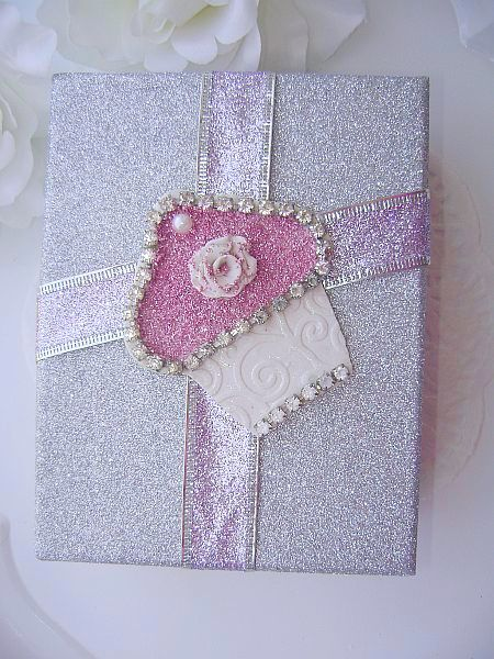 Stunning Silver Sugared Cupcake Embellished Gift Box