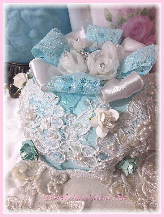 Beautiful Blue Rose and Lace Pumpkin