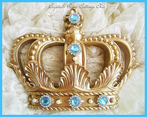 Gold Fleur de Lis Bed Crown with Turquoise Rhinestones...Color Choices