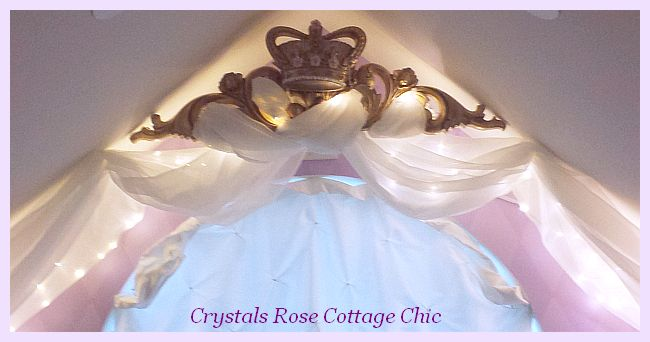 Gold Bed Crown Canopy with Lights and pink roses girls room decor