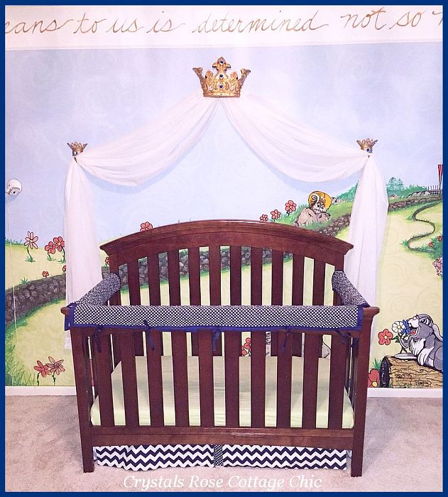 Prince Theme Nursery Royal Blue and Gold Bed Crown Canopy
