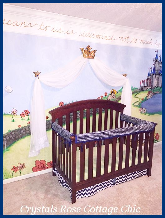 Prince Nursery Theme Gold Bed Crown Canopy Sapphire