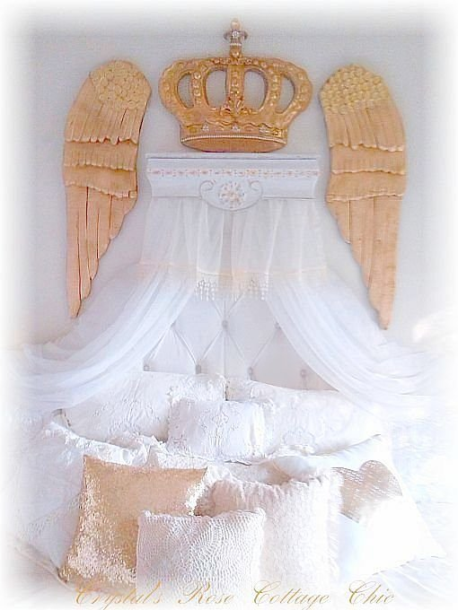Statement Bed Crown Canopy Wing Set..Color Choices, Free Shipping