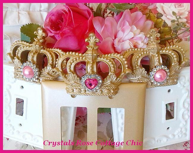 Crown Double Rocker Wall Plate with Rhinestone...Color Options