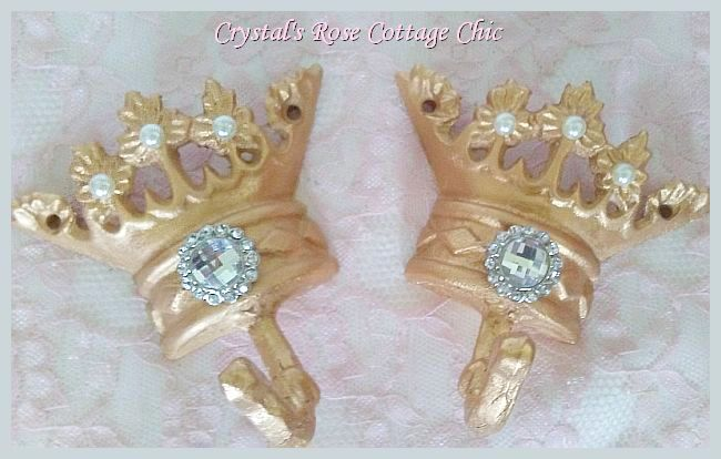 Gold Crown Hook with  Rhinestone...Color and Paint Finish Choices