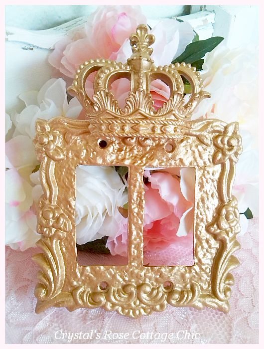 Fleur de Lis Crown Victorian Rose Double Rocker Wall Plate...Color Choices