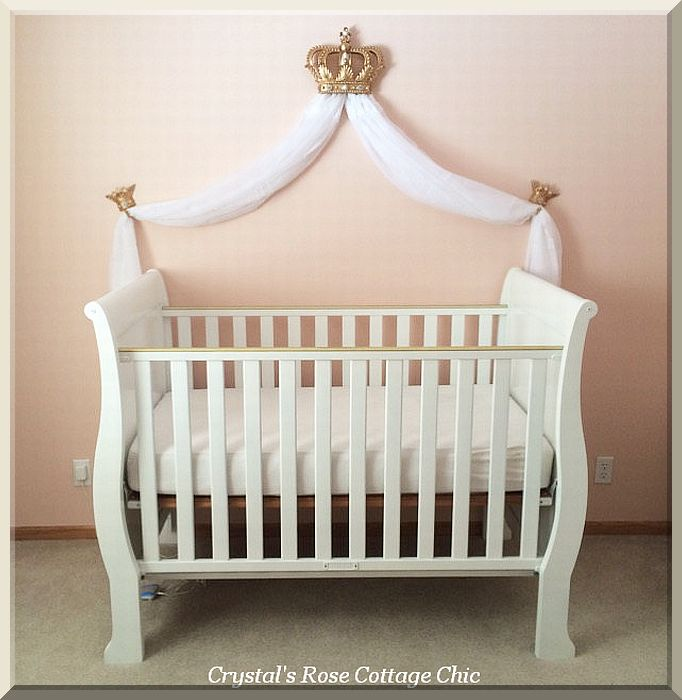 Gold Fleur de Lis Bed Crown Canopy