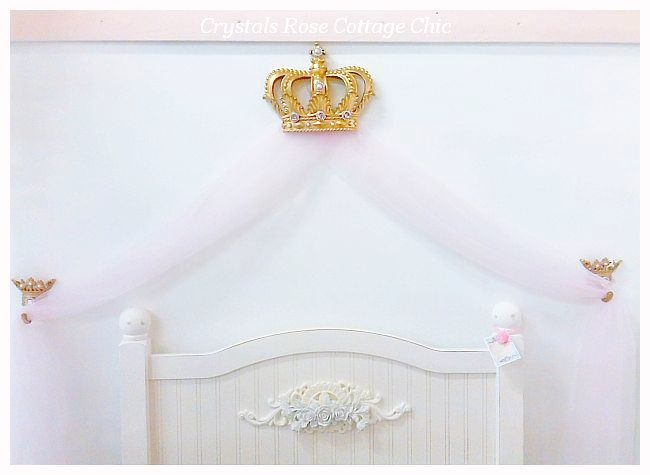 Gold Bed Crown Canopy Fluer de Lis Pink Rhinestones