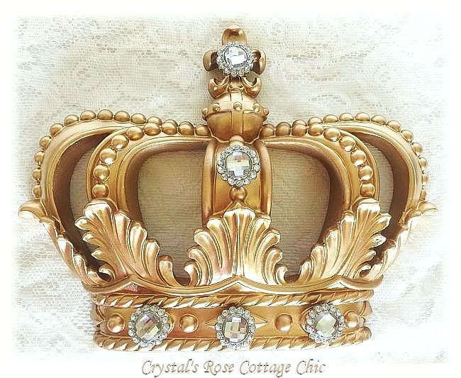 Gold Fleur de Lis Crown with Clear Rhinestones
