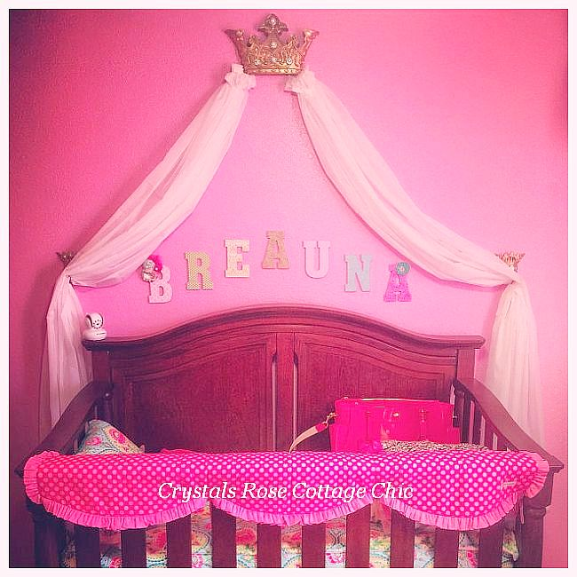 Gold Bed Crown Canopy Fleur de Lis Hot Pink Light Pink