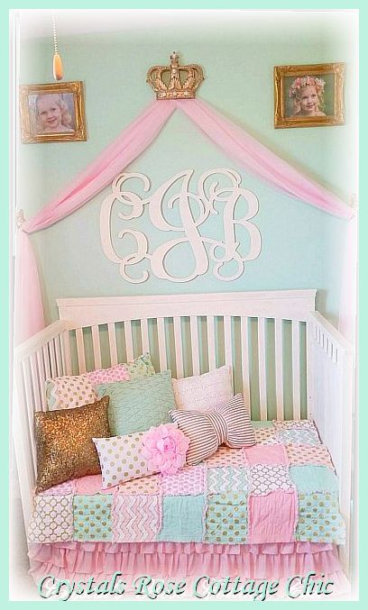 Mint Green Pink Gold Bed Crown Canopy Nursery