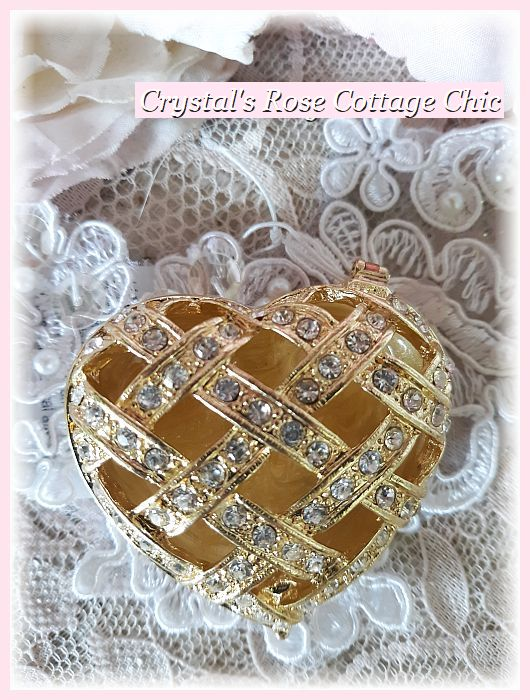 Rhinestone Basket Weave Heart Jewelry/Trinket Box