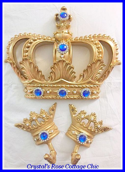 Gold and Royal Blue Bed Crown Set