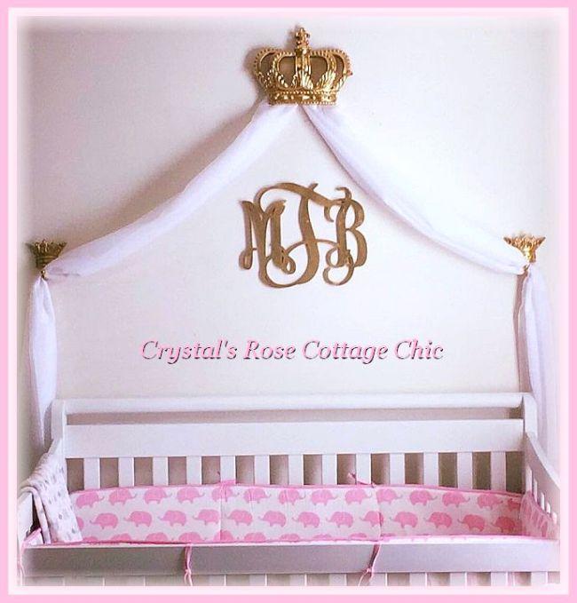 gold crib crown canopy pink nursery