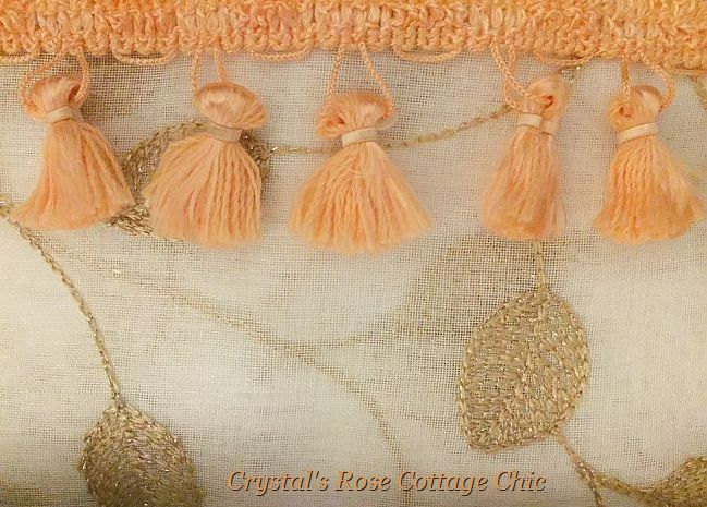 Gold Leaf Embroidered White Sheers with Tassel Trim...Color Options