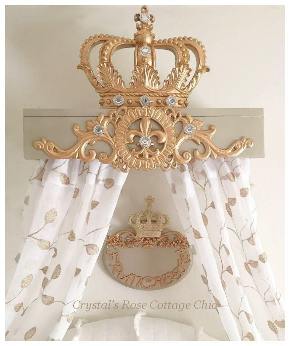Bed Crown Canopy Teester & Matching Name Plaque ..Color Choices