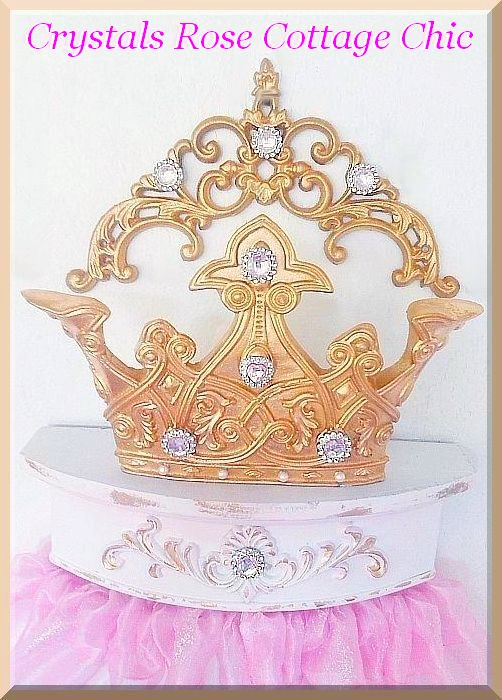 Gold and Pink Princess Bed Crown Canopy Set