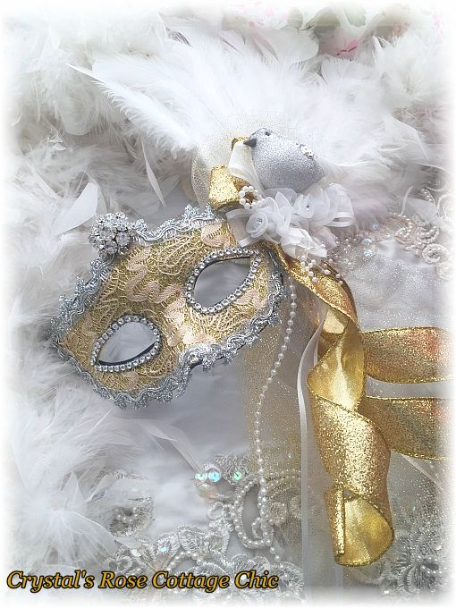 Gold, Silver & White Rhinestone Bird Mask
