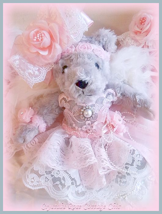Shabby Pink Rose Delight Angel Bear