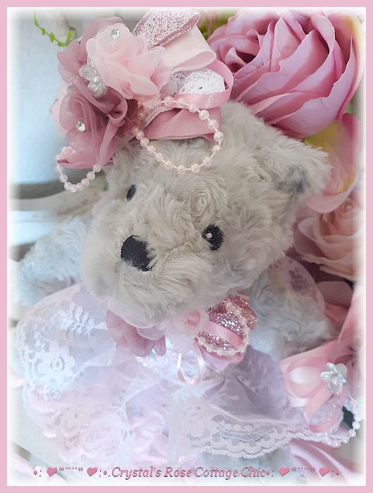 Grey Bear with Pink & Dusty Rose