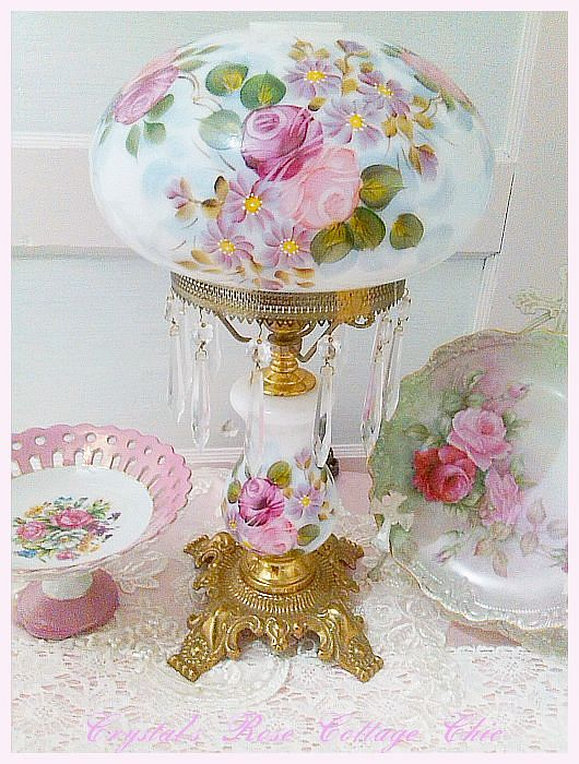 Vintage Lamp with Hand Painted Roses
