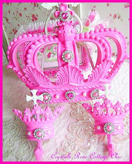 Hot Pink Fleur de Lis Bed Crown Canopy Set