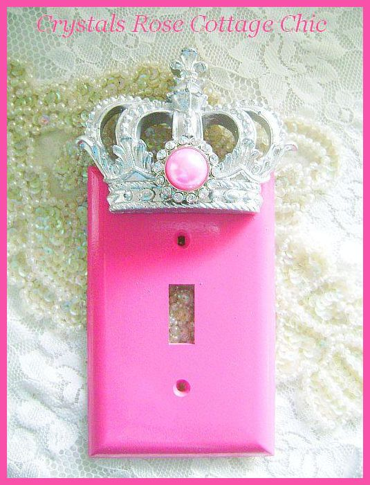 Hot Pink Switchplate Cover with Metallic Silver Crown with Bubblegum Pearl