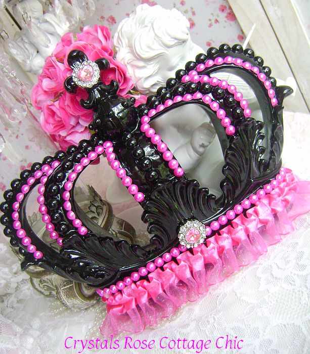 Hot Pink and Black Fleur de Lis Wall or Bed Crown