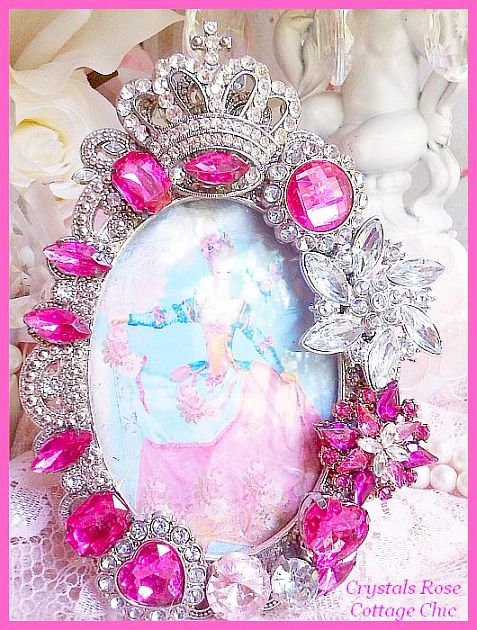 Fuchsia Princess Rhinestone Crown Frame