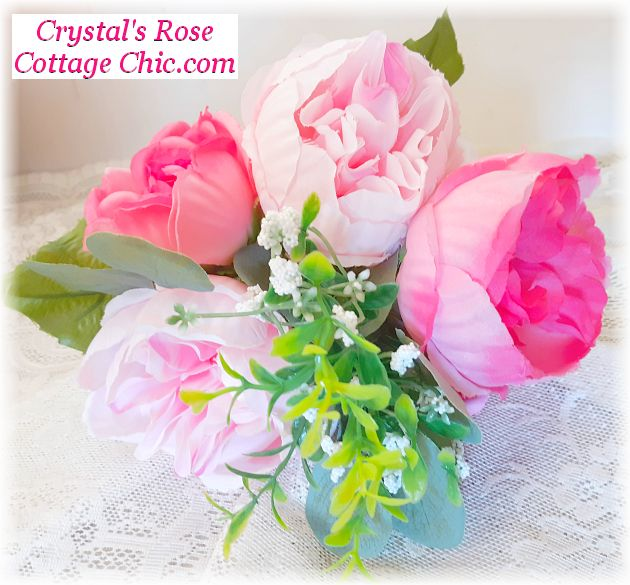 Hot Pink and Light Pink Cabbage Rose Bouquet..Free Shipping
